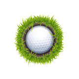 Hole One Round. Vector IOS or Android Golf Ball In The Hole One Round Icon Isolated On White Stock Image