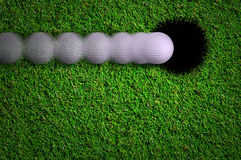 Hole in one shot. Golf ball move to hole in one shot Stock Photos