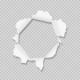 Hole in the paper. With torn sides. Torn paper with ripped edges background. Vector illustration stock illustration