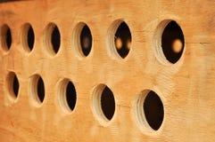 Hole on the plywood stock photos