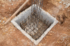 Hole of pole in construction site building prepare Royalty Free Stock Photos