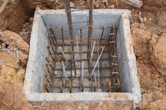 Hole of pole in construction site building prepare Stock Photos