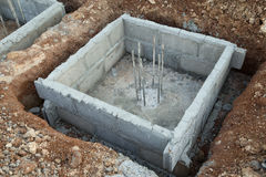Hole of pole in construction site building prepare Royalty Free Stock Images