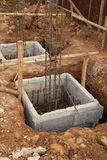 Hole of pole in construction site building Royalty Free Stock Photos