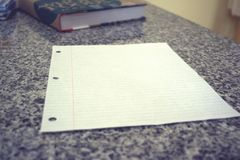 3-Hole Punched White Lined Paper Stock Photos