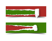 Hole in red cardboard teared sides and scroll banner. Merry Christmas green vector torn edge illustration so as paper Royalty Free Stock Image