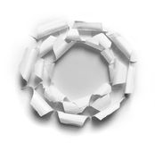 Hole ripped in three white paper Royalty Free Stock Photography