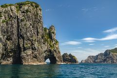 Hole in the Rock, Bay of Island, New Zealand stock photo