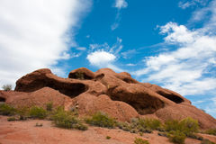 Hole-in-the-rock butte. Red sandstone butte located in Papago Park in Phoenix, Arizona Royalty Free Stock Photo