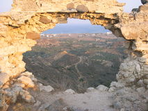 Hole with Sea View. Hole in the Castle Wall with Sea View - Kos Island - Greece stock photo