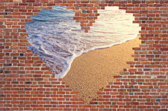 Hole shape heart inside brick wall, Symbol of love, brick wall h Royalty Free Stock Photography