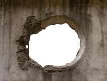 Hole. Shapeless hole in an old dirty concrete stock photo