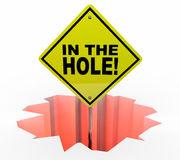In the Hole Sign Debt Mony Owed Behind Schedule Budget Royalty Free Stock Photos