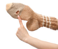 Hole in the sock. Handmade sock with hole isolated on white background Royalty Free Stock Photography