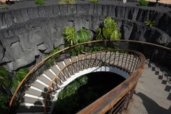 Hole with stairs in the Museo del Campesino, in the village of Mozaga in Lanzarote royalty free stock photo