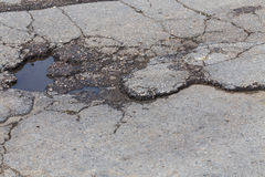 Hole in street asphalt Royalty Free Stock Images