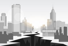 Hole Street Financial Crisis City Center Concept. Flat Vector Illustration Royalty Free Stock Photos
