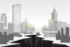 Hole Street Financial Crisis City Center Concept Royalty Free Stock Photos