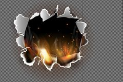Hole torn in ripped paper with burnt and flame on transparent background. Flaming paper sheet. Burning paper. Vector illustration Stock Photos