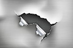 Hole torn in ripped steel on metal. Background Royalty Free Stock Photo