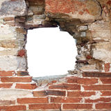Hole In Wall. Hole in old brick Wall Royalty Free Stock Photo