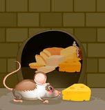 A hole at the wall with bread and cheese. Illustration of a hole at the wall with bread and cheese royalty free illustration