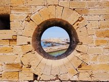 Hole in a Wall of Essaouira. Coastal town founded by the Portuguese in Morocco, Africa Royalty Free Stock Photography