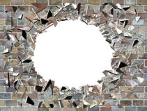 Hole in the wall - exploding wall Royalty Free Stock Photo