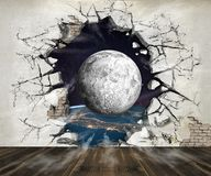 Hole in the wall, out into space. Photo wallpaper for the walls. 3D rendering. Hole in the wall, out into space. Photo wallpaper for the walls stock illustration