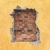 Hole in a Wall. A Hole in a Wall with Red Brick Background Stock Photography