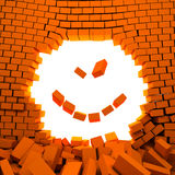 Hole in wall of  red bricks like smile. Hole in wall like smile. fun 3d illustration Stock Photo