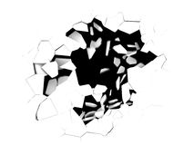 Hole in white. 3d illustration of cracked hole in white background Stock Photos