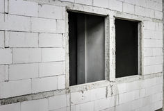 hole of window in cement block in construction site Royalty Free Stock Photos