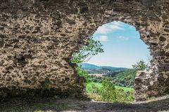Hole into the world. Window in brick wall. Hello world!. Big opening in hard stone wall. Window of the world. Wall in stone wall. Enter to paradise. Hole to royalty free stock photography