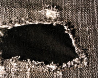 Hole in worn jeans Royalty Free Stock Images
