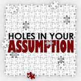 Hole In Your Assumption Puzzle Pieces Bad Wrong Guess Stock Image
