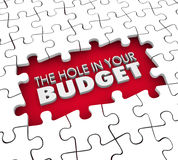 Hole in Your Budget Financial Shortfall Debt Bankruptcy Puzzle Royalty Free Stock Photos