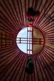 Hole in a yurt roof Royalty Free Stock Images