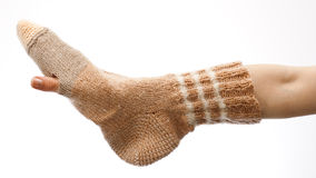 Holed sock Royalty Free Stock Photos