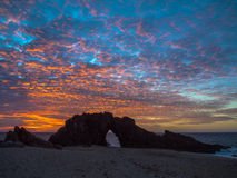 Holed Stone Beach. Sunset in Holed Stone Beach - Jericoacoara National Park - State of Ceara - Brazil Royalty Free Stock Photo