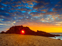 Holed Stone Beach. Sunset in Holed Stone Beach - Jericoacoara National Park - State of Ceara - Brazil Royalty Free Stock Photos