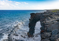 Holei Sea Arch. The Holei sea arch at Volcanoes National Park - Big Island Hawaii Stock Photography