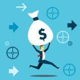Holen Sie etwas Laufender Spaß des Geschäftsmannes beim Anheben eines Sacks des Geldzahltags Konzeptgeschäftsillustration stock abbildung