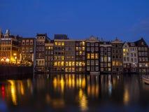 Holenderów domy na Damrak w Amsterdam Obraz Stock