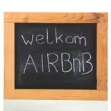 Holender Airbnb na blackboard zdjęcie royalty free