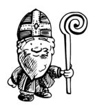 Holendera Sint ilustracja - czarny i biały atramentu rysunek ilustracja wektor