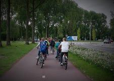 Holenderscy dziecko w wieku szkolnym na bicyklu Basisschoolkinderen op De Fiets Fotografia Royalty Free