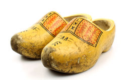 holenderska para kuje tradycyjnego drewnianego kolor żółty zdjęcie royalty free