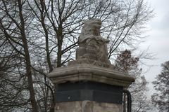Holenderska stara lwa kamienia rzeźba obrazy royalty free