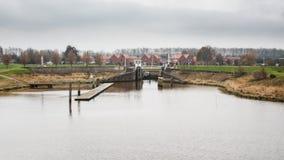 Holenderska wioska Termunterzijl w Gubernialnym Groningen obraz stock